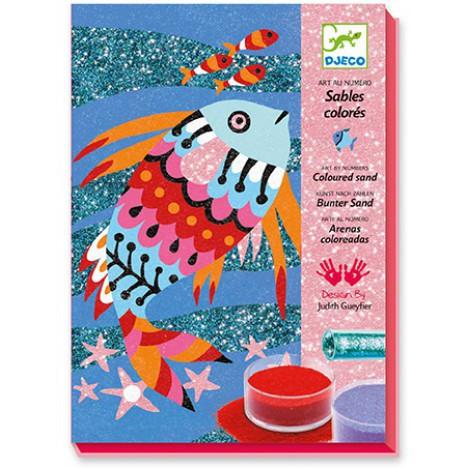 Художній комплект малювання кольоровим піском і блискітками райдужні рибки djeco (DJ08661)