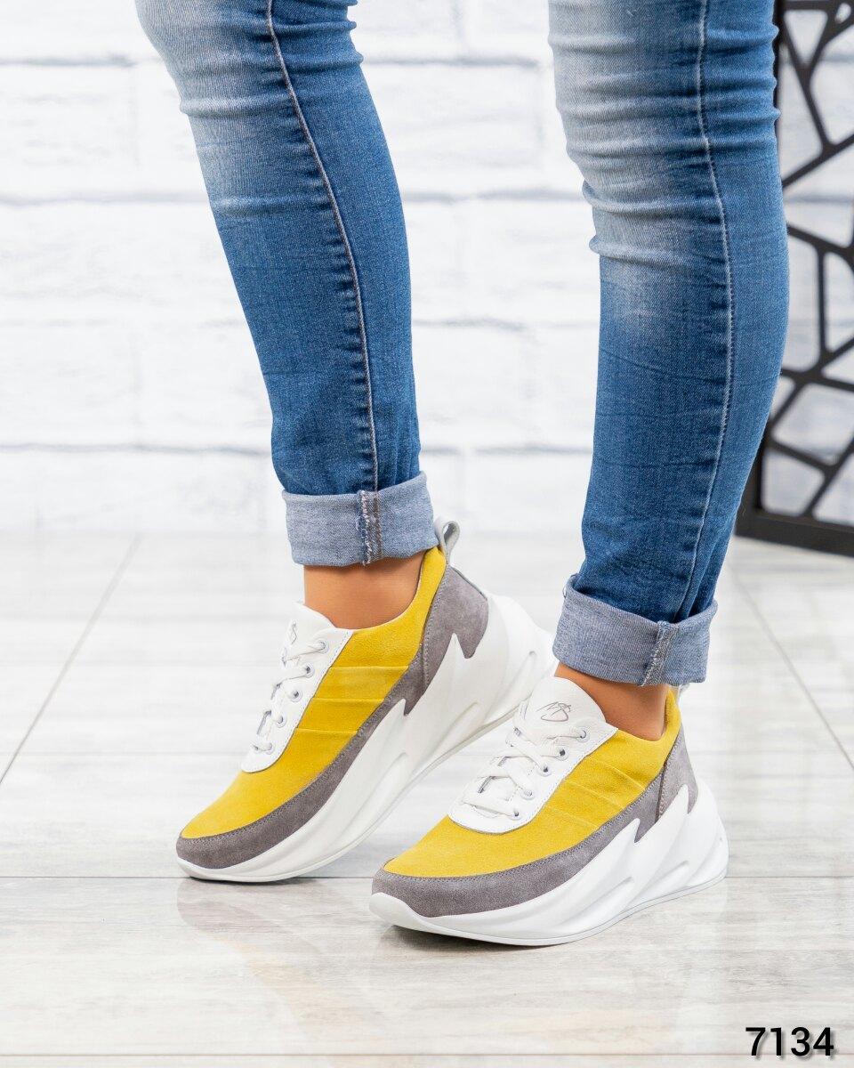 Кроссовки женские желтый/серый