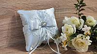 Подушечка для колец Jewel (белая с серебром)