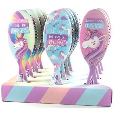 Мечты единорога магическая расческа для волос розовая (голубая, радужная) (20291R)
