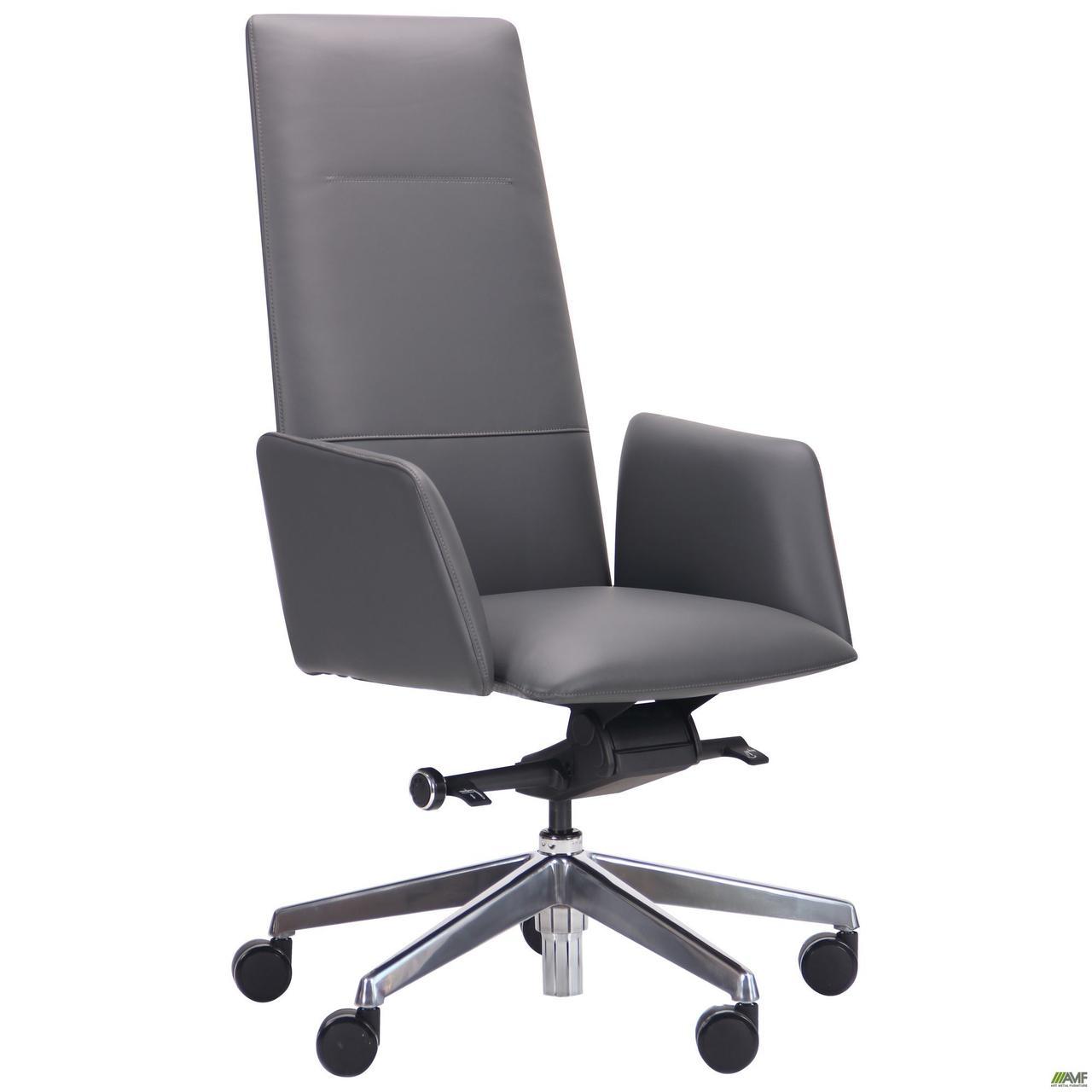 Кресло офисное кожаное AMF Nikkolo HB серое