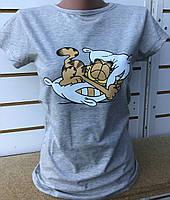Футболка с котом Гарфилдом/ подушкой женская (ПОШТУЧНО) В РАСЦВЕТКАХ, фото 1