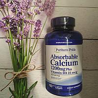 Puritan's pride Absorbable Calcium 1200 mg Plus vitamin D3 2,5 mg; 100 Softgels, фото 1