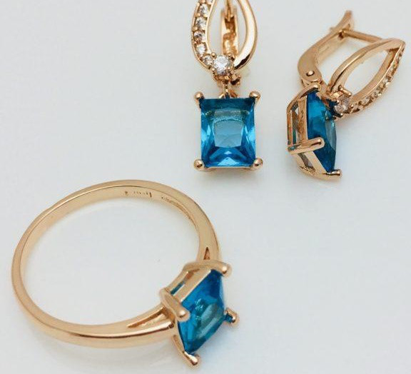 Набор Голубика серьги + кольцо, размер кольца 16, 20