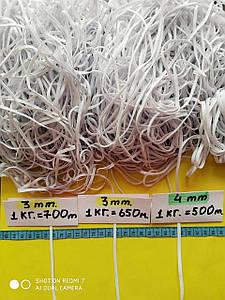 Резинка для масок  белая 3-4мм. от 500м.