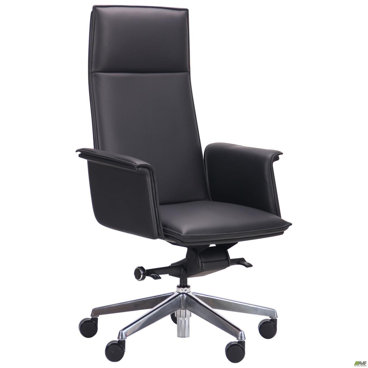 Кресло офисное кожаное AMF Pietro чёрное