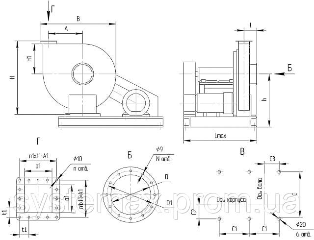 Габаритні і приєднувальні розміри відцентрового вентилятора ВВД 6 3 (Виконання №5)