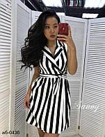Женское стильное платье с поясом в полоску, фото 1