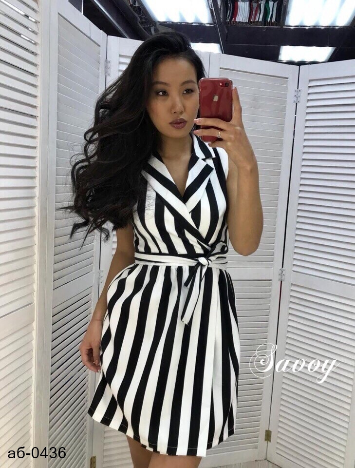 Женское стильное платье с поясом в полоску
