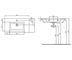 Раковина меблева з тонким бортом KOLO TWINS L51980000 / 80 cм, фото 2