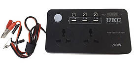 Перетворювач UKC 12-220V 200W з LCD і USB 7064