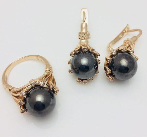 Набор Черный жемчуг серьги+ кольцо размер кольца 18