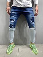 Джинсы мужские узкие рванные синие с светлым низом Модные джинсы мужские узкие рванные 32,36 размер