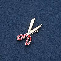 Брошка тематична Ножиці Перукар емаль золотистий Fashion Mir-19451