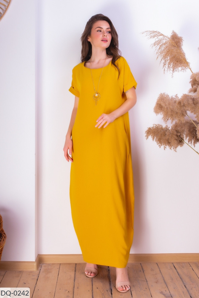 Платье макси в стиле бохо размеры 42-44, 46-48 горчичное
