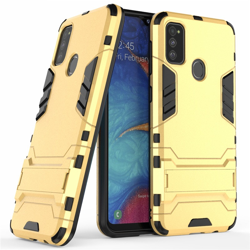 Чохол Hybrid case для Samsung Galaxy M21 (M215) бампер з підставкою золотий