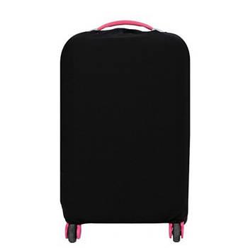 Чехол на чемодан защитный дорожный. Накидка эластичная для чемодана из микродайвинга, размер M (черный)