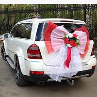 Бант Красно-белый с цветами, свадебный бант на машину