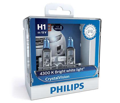 Лампа галогенна PHILIPS Cristal Vision H1 55W 12V 2шт. + W5W 2шт.