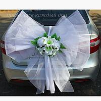 Бант Белый с цветами, свадебный бант на автомобиль