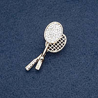 Брошка тематична Тенісна ракетка Теніс емаль у стразах Fashion Mir-19560