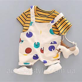 Літній костюм на хлопчика футбока +комбенизон 3 роки