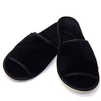 Тапочки велюровые для дома/отеля Luxyart, черный, открытый носок, в упаковке 20 пар (ZF-137)