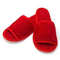 Тапочки велюровые для дома/отеля Luxyart, красный, открытый носок, в упаковке 20 пар (ZF-138)