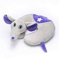 Детская подушка-игрушка для путешествий под шею Travel Blue Flappy the Elephant / Слон Серо-сиреневая (283)