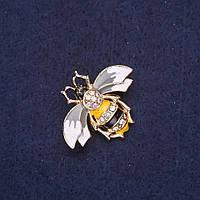Брошка Бджілка у стразах прикраси на одяг Fashion Mir-33151