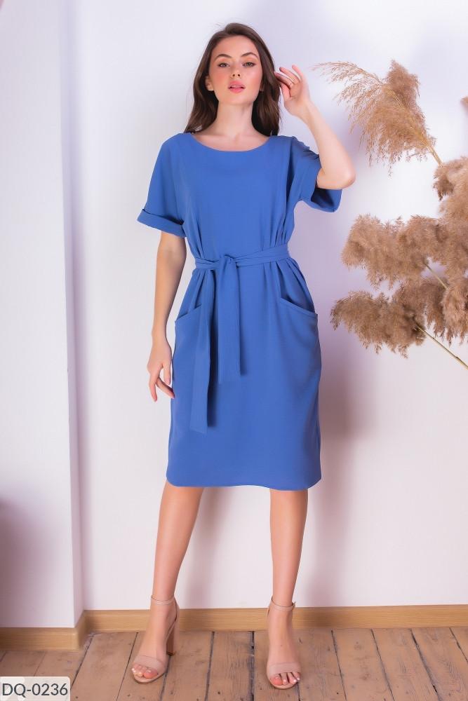 Женское летнее платье в деловом стиле размеры 42-44, 46-48 синее
