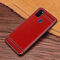 Чехол Litchi для Samsung Galaxy M21 (M215) силикон бампер с рифленой текстурой красный