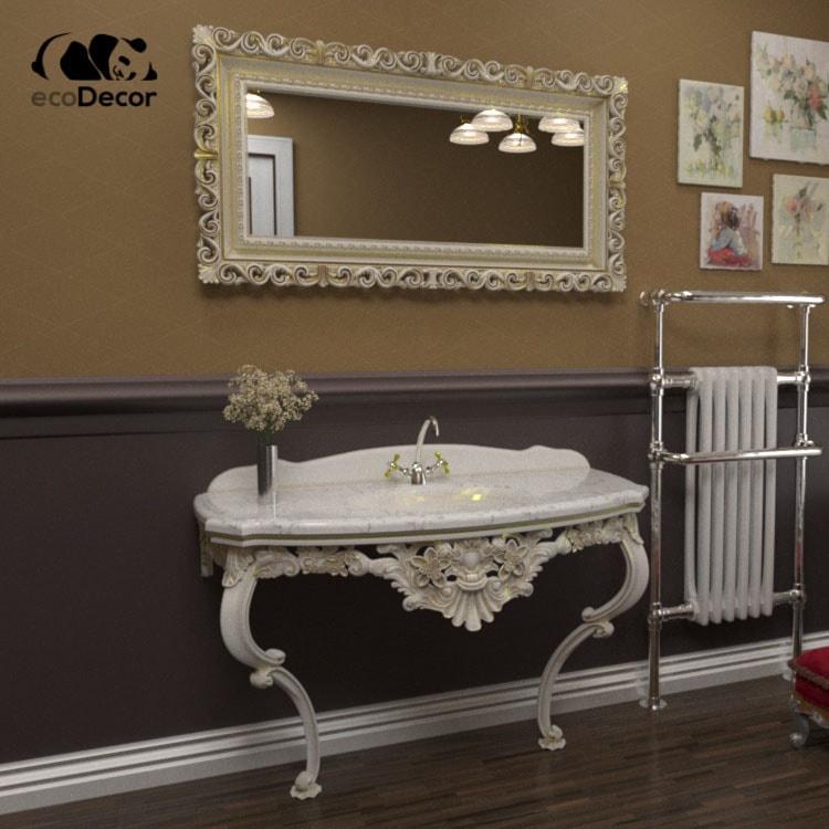 Зеркало в ванную белое с золотом Bogota