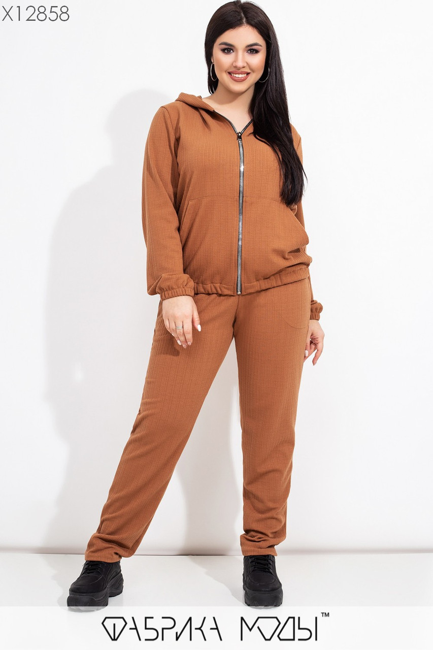 Женский костюм тройка в больших размерах (юбка, кофта и штаны) 115635