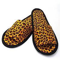 Тапочки кожзам для дома/отеля Luxyart Леопард открытый носок, в упаковке 20 пар (ZF-143)