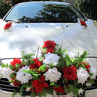 Хит! Украшение на машину розы Икебана 60х30 см, Лента 3 м, Цветы на ручки 4 шт, Бело-красный