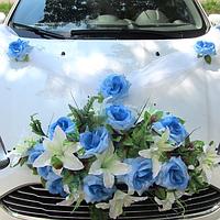 Хит! Комплект на авто розы и лилии Икебана 60х30 см, Лента 3 м, Цветы на ручки 4 шт, Бело-голубой