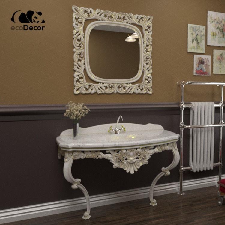 Зеркало в ванную белое с золотом Adana