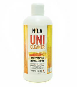 """Жидкость для снятия гель лака """"Молоко и мед"""" Nila Uni-Cleaner 500 мл."""