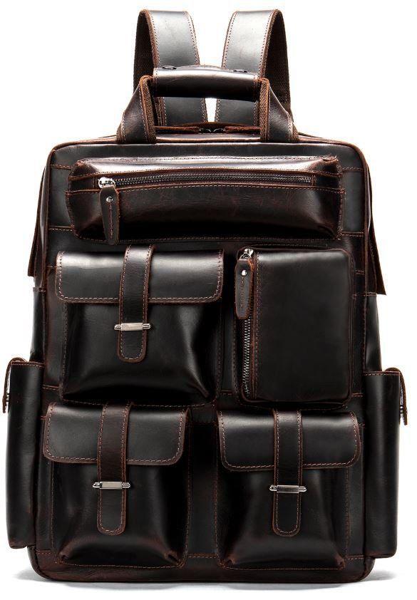 Рюкзак дорожный Vintage 14711 кожаный Темно-Коричневый, Коричневый