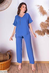 Женский летний брючный костюм с блузкой размеры 42-44, 46-48 синий