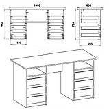 """Письменный стол с выдвижными ящиками """"Декан-3"""", фото 2"""