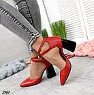 Женские красные туфли с расклешенным каблуком, натуральная кожа 39 ПОСЛЕДНИЙ РАЗМЕР, фото 2