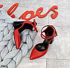 Женские красные туфли с расклешенным каблуком, натуральная кожа 39 ПОСЛЕДНИЙ РАЗМЕР, фото 4
