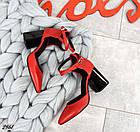Женские красные туфли с расклешенным каблуком, натуральная кожа 39 ПОСЛЕДНИЙ РАЗМЕР, фото 5