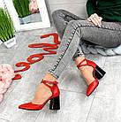 Женские красные туфли с расклешенным каблуком, натуральная кожа 39 ПОСЛЕДНИЙ РАЗМЕР, фото 6