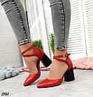 Женские красные туфли с расклешенным каблуком, натуральная кожа 39 ПОСЛЕДНИЙ РАЗМЕР, фото 7