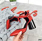 Женские красные туфли с расклешенным каблуком, натуральная кожа 39 ПОСЛЕДНИЙ РАЗМЕР, фото 8