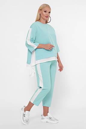 Зручний літній костюм великого розміру кофта з асиметрією і штани, 50-60 розмір, фото 2