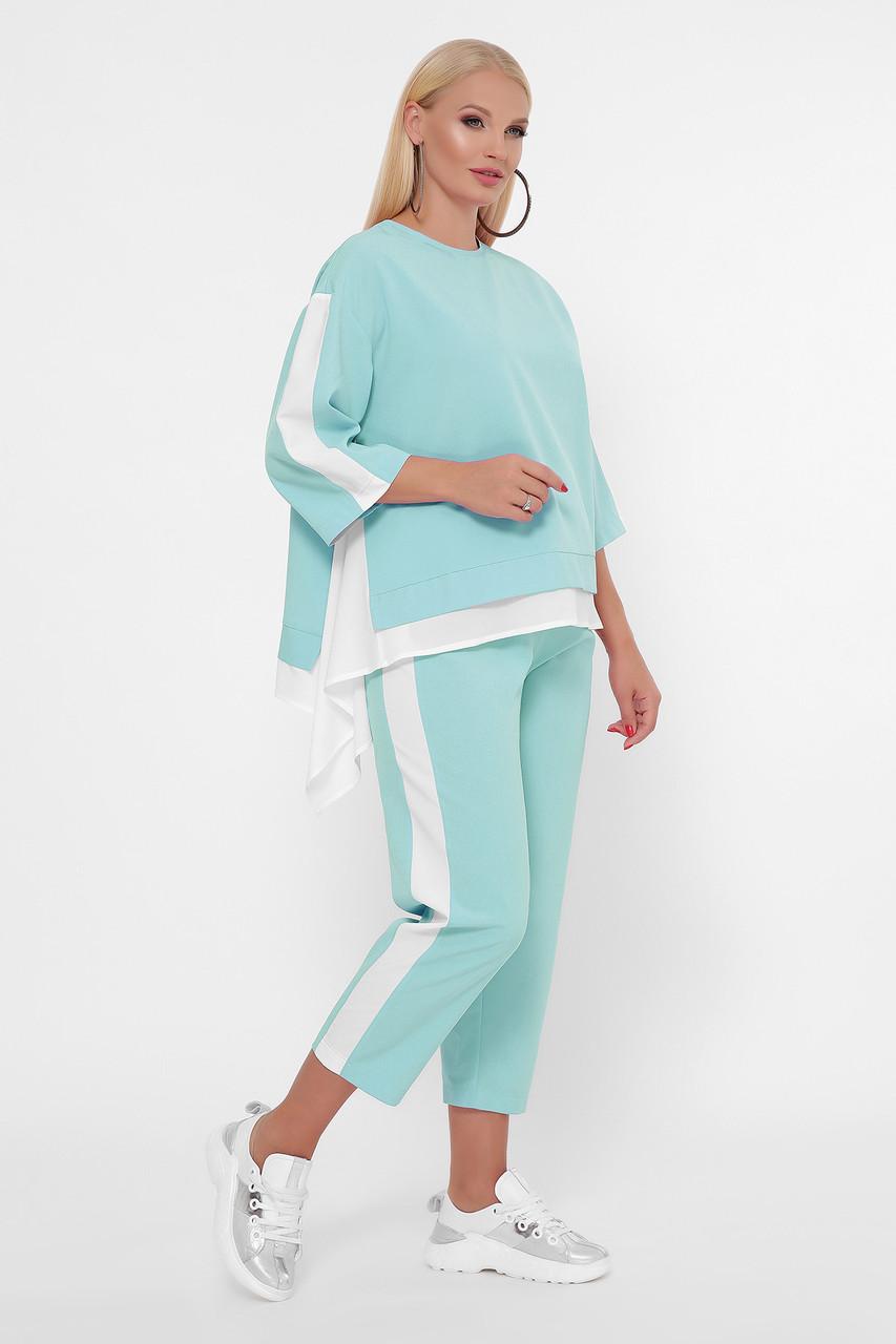 Зручний літній костюм великого розміру кофта з асиметрією і штани, 50-60 розмір